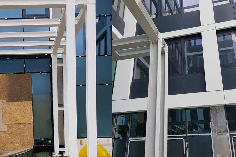 Zabezpieczenie ogniochronne konstrukcji stalowej zadaszeń w Business Garden Wrocław